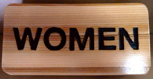 "D13306 - Carved Cedar Wood Sign ""WOMEN"" for Women's Restroom"