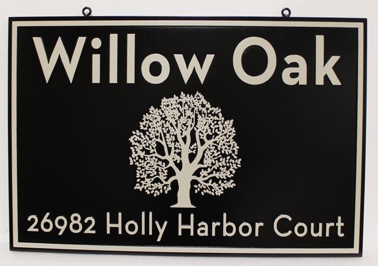 """I18307 - Carved  2.5-D Property Name and Address Sign for the Residence """"Willow Oak"""" i"""