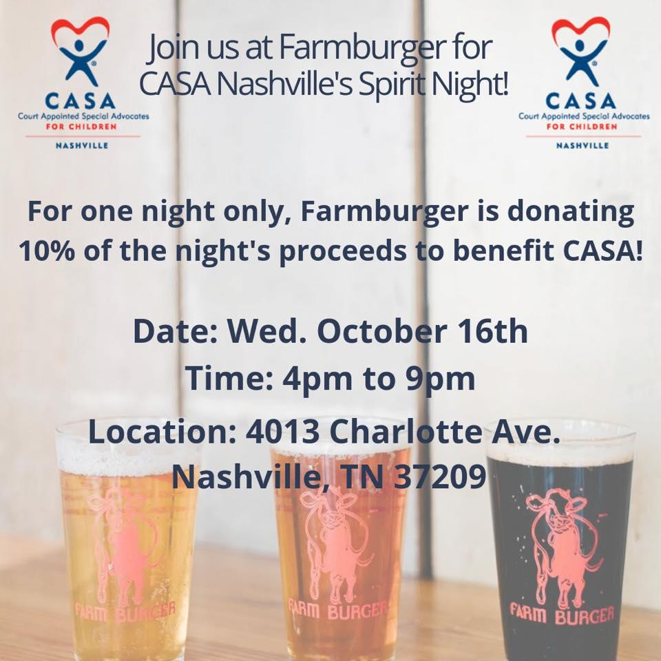 CASA Nashville Spirit Night at Farmburger