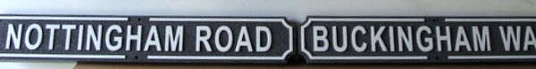 H17038 - Carved HDU  Street Name Signs, Nottingham Road and Buckingham  Way