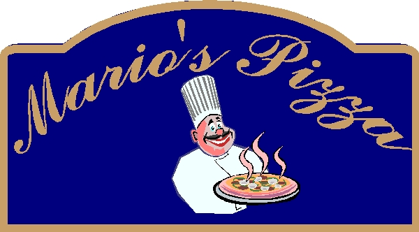 Q25210 - Design of Carved Wood or DHD Sign for Mizza Parlour with Carving of Chef with Pizza