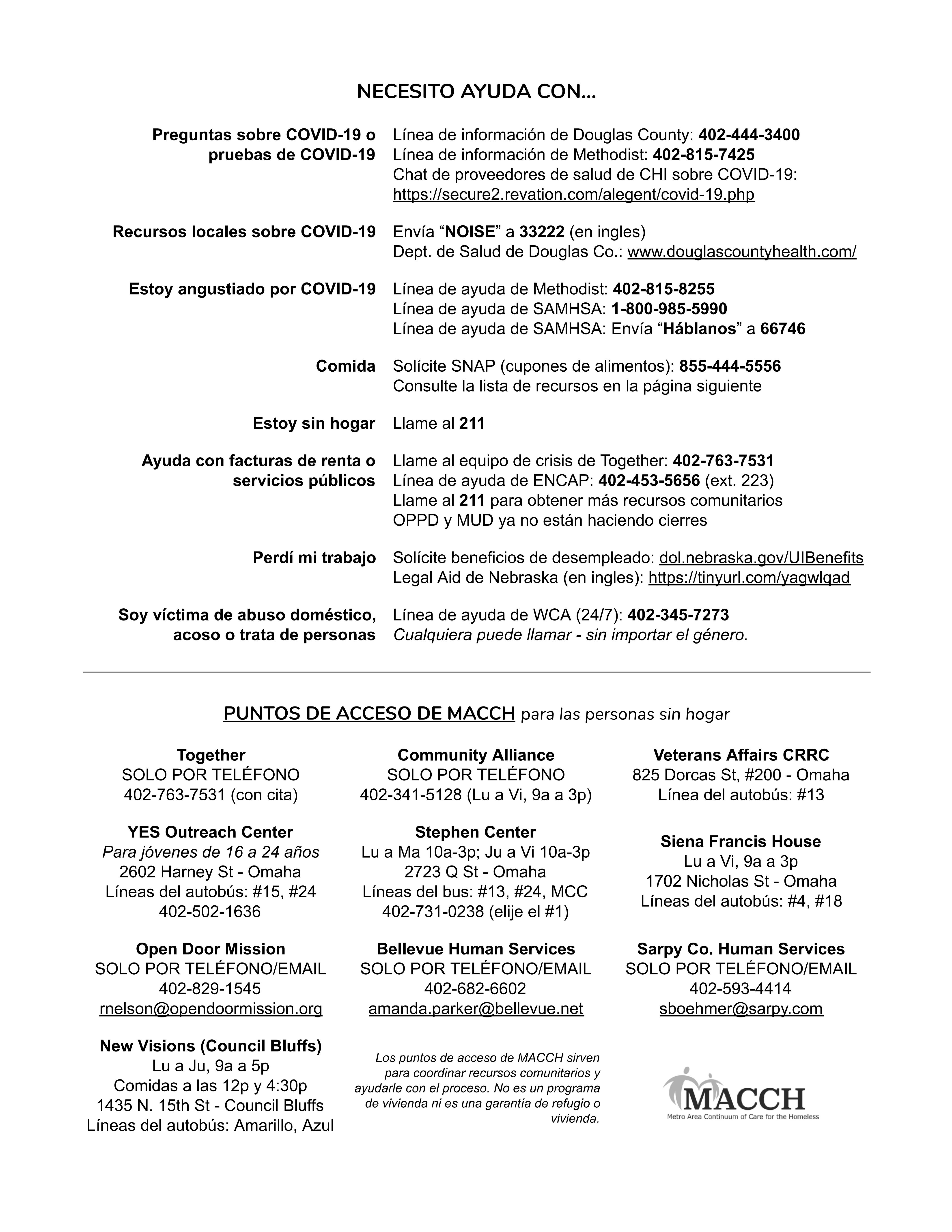 COVID-19 Resource Guide 2 (Spanish)