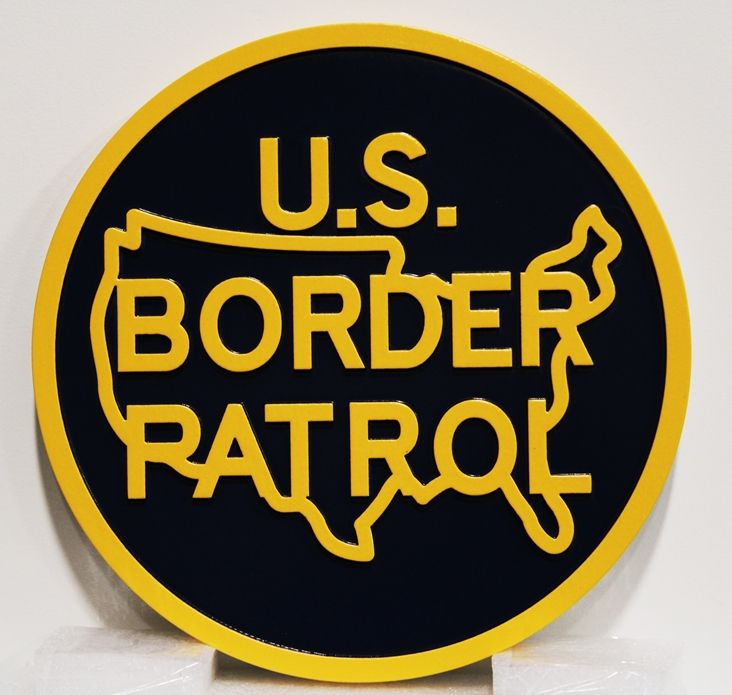 AP-4130 - carved Plaque of the Seal /Emblem of the US Border Patrol