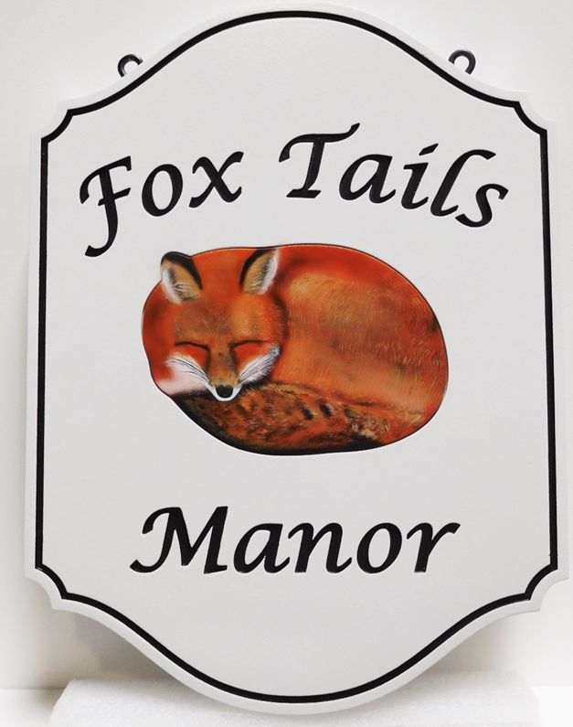 "I18554 - Carved High-Density-Urethane (HDU)  Property Name  sign Made for  ""Fox Tails Manor"", with Full-Color Painted Fox as Artwork."