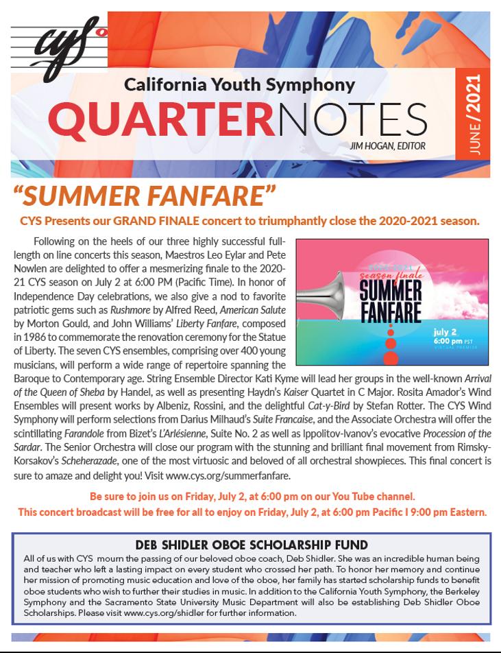 June 2021 Quarter Notes