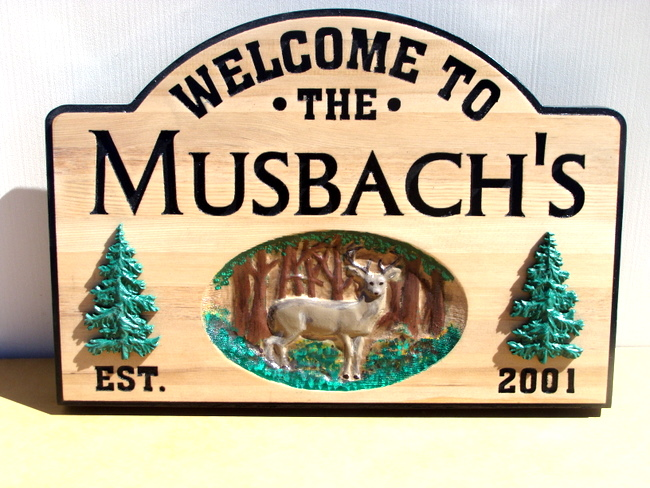 M3075 - Cedar Address Sign with Carved 3-D Deer and Trees (Gallery 21)