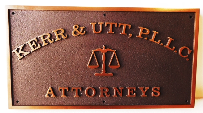 A10042 - Carved, HDU Sign for Attorneys with Metallic Brass Painted Text and Borders