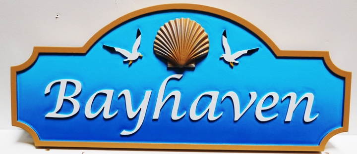 "L21540 - Design for Name Sign ""Bayhaven""  with 3D Carved Shell and Seagulls"