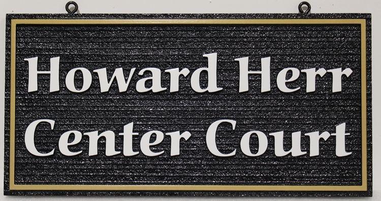 "GB16843 -  Carved and Sandblasted Wood Grain High-Density-Urethane (HDU) ""Howard Herr Center Court"""