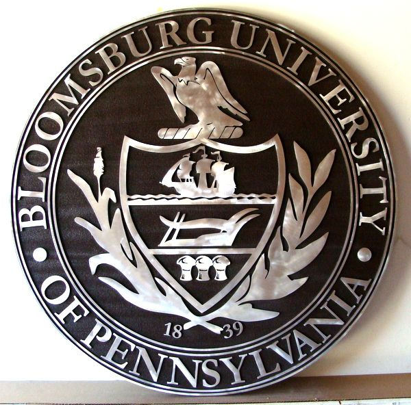 Y34318 - Aluminum and Wood  Wall Plaque of Bloomsburg University Great Seal (front view)
