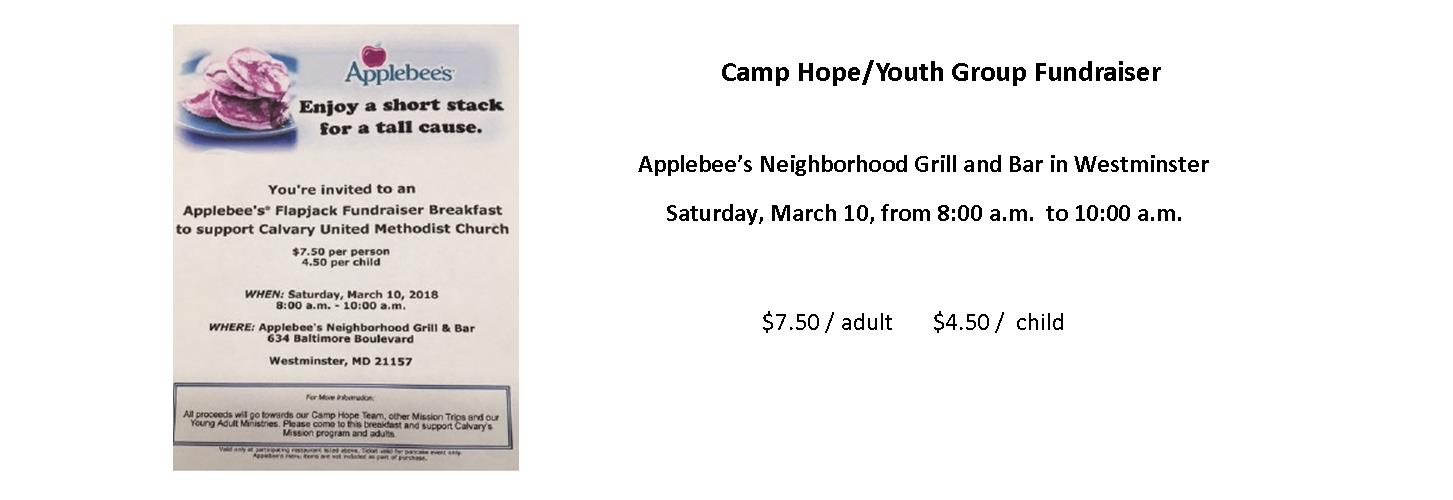 Camp Hope Fundraiser at Applebees