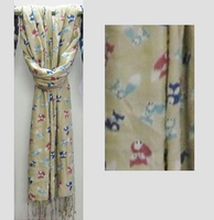 Fox Viscose Scarf with Fringe - Beige