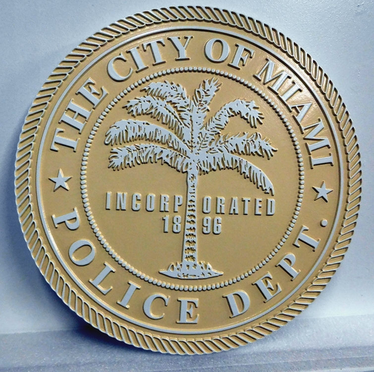 X33460 - Carved 2.5-D Wall Plaque for the City of Miami Police Department, featuring the Seal of Miami.