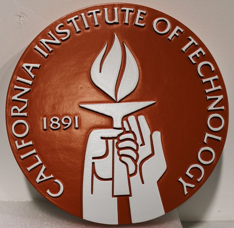 RP-1350 - Carved 2,5-D raised Relief Wall Plaque of the Seal of the California Institute of Technology (Cal Tech)
