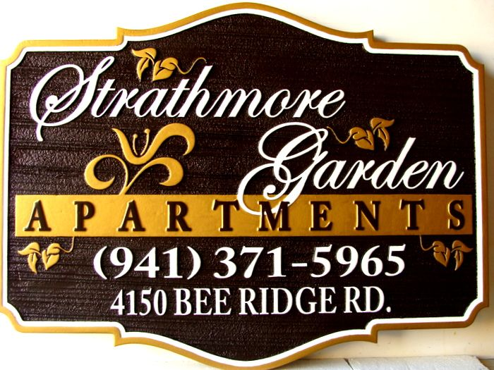 M7429 - Gold-Painted Apartment Entrance Sign