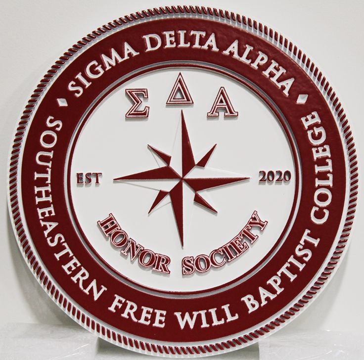 SP-1370 - Carved Plaque of theSeal of College Honor Society,  Sigma Delta Alpha, 2.5-D Artist-Painted