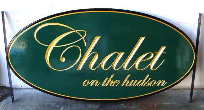 "I18103 - Elegant Property Name Sign  in Script with Gold Leaf, ""Chalet on the Hudson"""