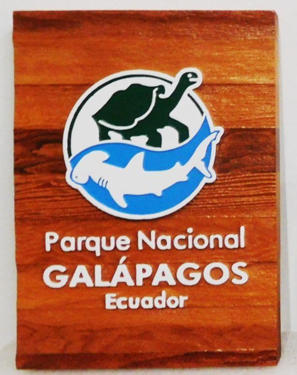 L21667- Carved Cedar Sign for Galapagos National Park,  Ecuador , featuring a Tortoise and Hammerhead Shark as Artwork