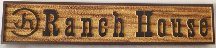"""Q24966 - Carved and Sandblasted  Entrance Sign for a """"Ranch House"""""""