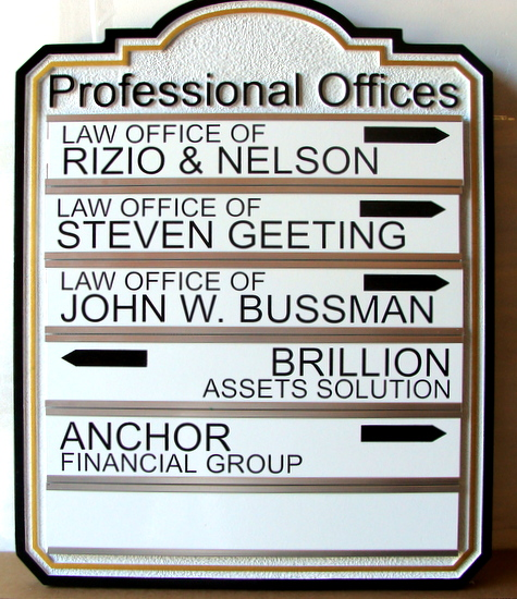 A10535  - Professional Offices Directory and Wayfinding Sign with Replaceable Nameplates