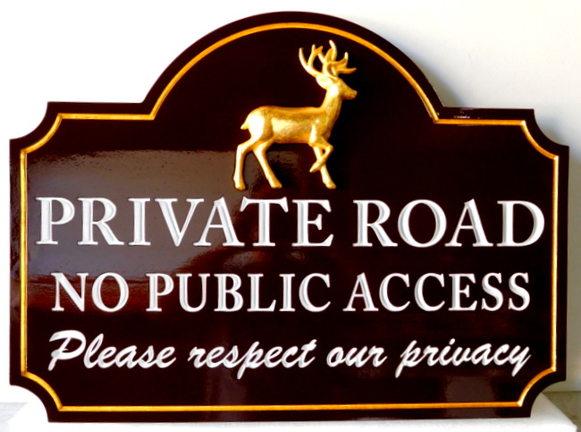 H17124 - Engraved HDU Private Road / No Public Access Sign, with Carved 3-D Gold-Leaf Gilded Buck Deer as Artwork
