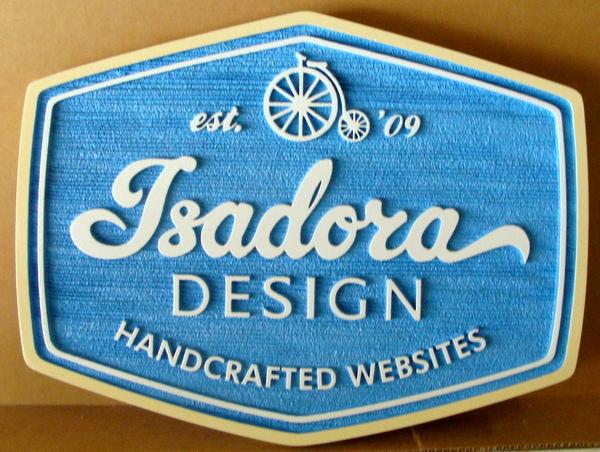 """SA28755 - Carved HDU Sign for """"Isadora Design"""" of Hand-crafted Websites"""