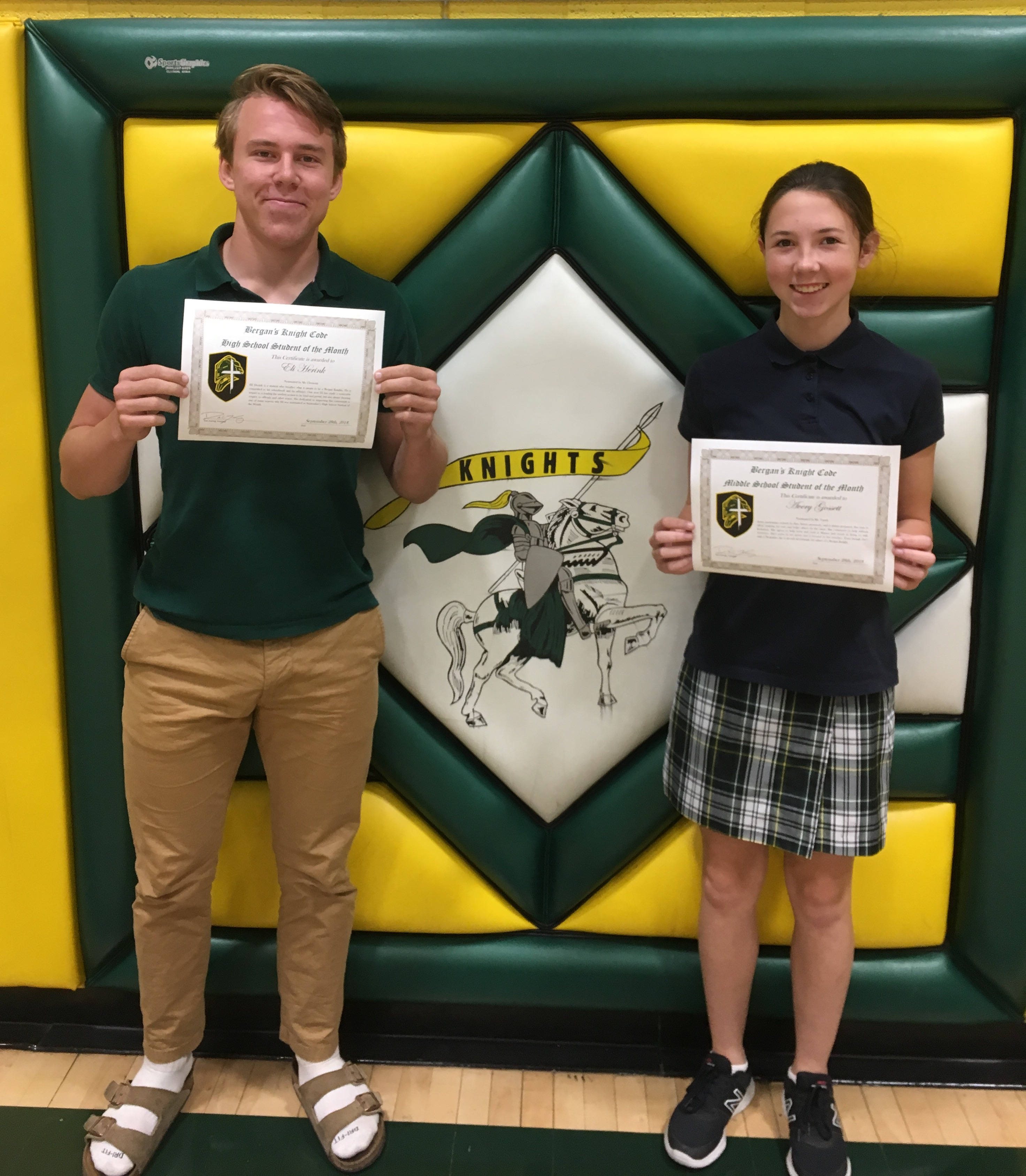 September Knight Code HS/MS Students of the Month