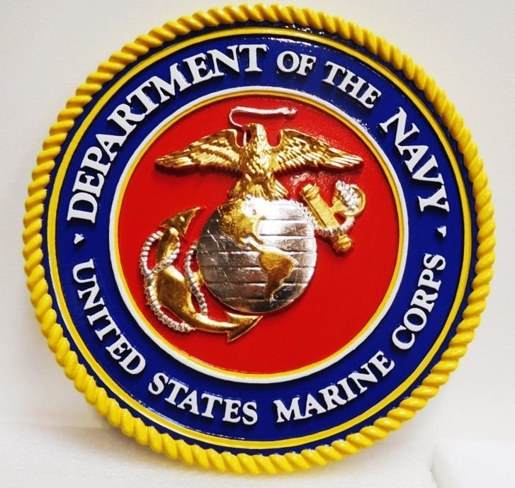 V31405 -  Carved 3-D HDU Plaque of the Seal of the United States Marine Corps (USMC), Gold and Silver-Leaf Gilded  Eagle, Anchor and Globe