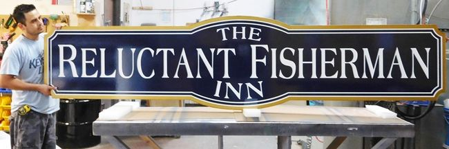 "T29012 - Large  12 ft Wide Carved 2.5-D HDU Sign for the ""The Reluctant Fisherman Inn"""