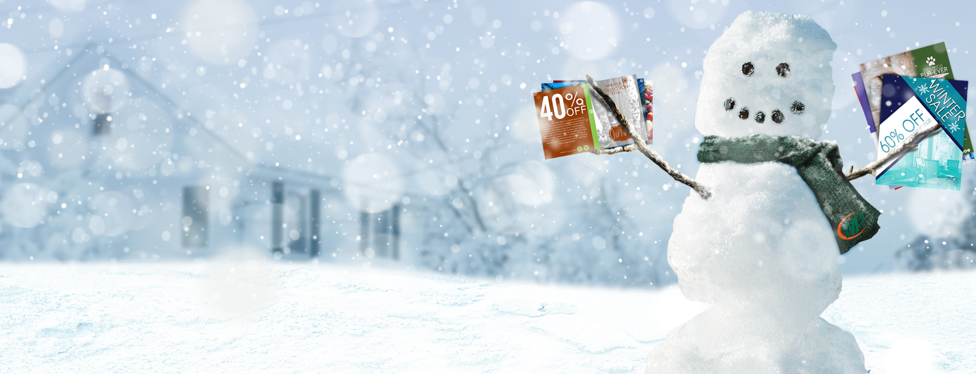 No matter the season, Frosty knows where to get his marketing material