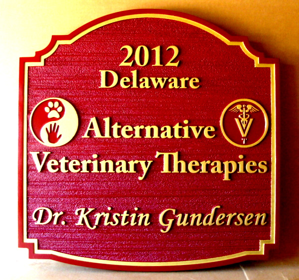 BB11756 - Carved Alternative Veterinary Therapies Office Entrance Sign