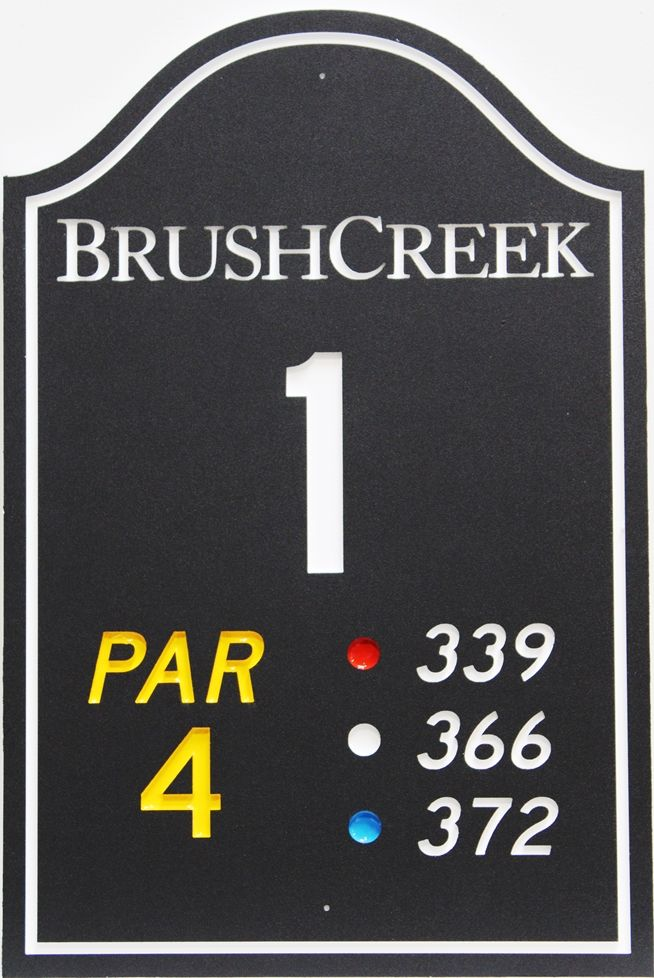 E14425 - Engraved HDPE Tee Sign for Hole 1 of the Brush Creek Golf Course