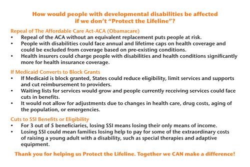 "**NEW** How would people with developmental disabilities be affected if we don't ""Protect the Lifeline""? Postcard"
