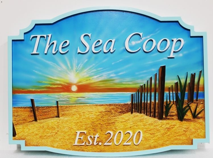 "L21212 - Carved and Sandblasted 2.5-D Multi-level Relief HDU Beach House Name  Sign ""The Sea Coop"", with Sunset over Ocean. Beach, and Wood Fence Posts."