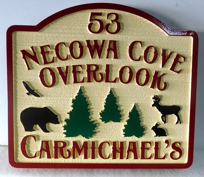 """M22892 -  """"Necowa Cove Overlook"""" Cabin Sign , with Bear, Deer, Rabbit and Eagle"""