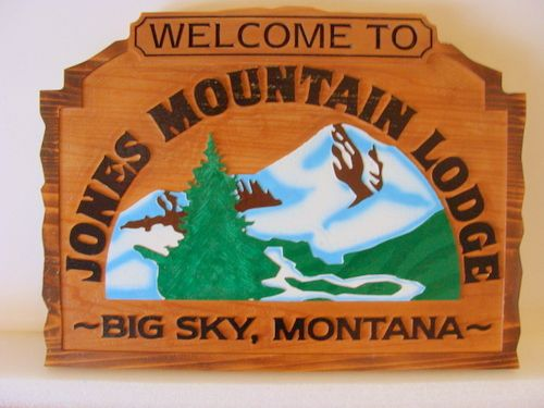 "T29084 - Carved Artist-Painted  Redwood Wood Sign for the ""Jones Mountain Lodge""., with Mountain and Trees as Artwork"