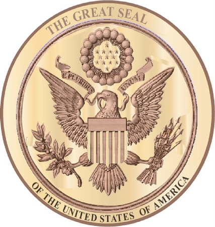 U30049 - Wooden 3-D HDU Great Seal of America Wall Plaque