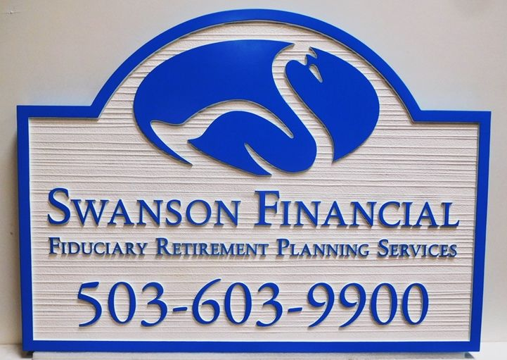 C12097 - Carved and Sandblasted Wood Grain sign for the Swanson Financial Management Firm, 2.5-D Artist-Painted