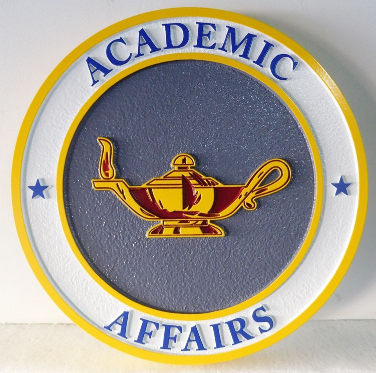Y34322 - Carved 2.5-D  Wall Plaque for a  University Department of Academic Affairs, with Greek Lamp as Artwork
