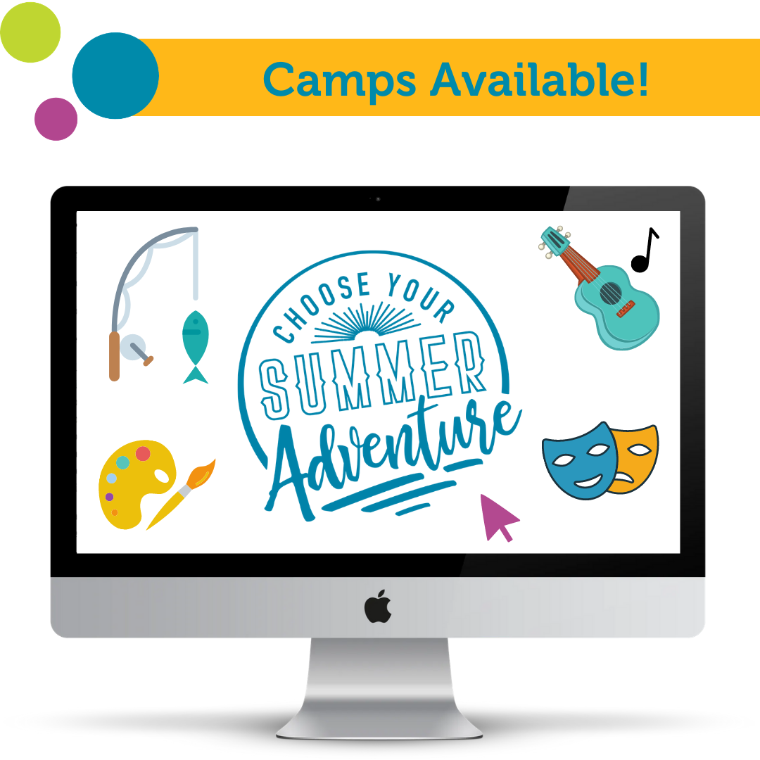 """Bright Lights logo with text that says """"Choose your summer adventure"""" and """"Camps available"""""""