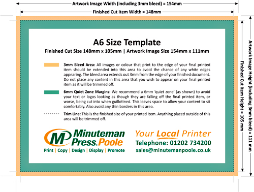 Artwork Template for an A6 Sheet Size