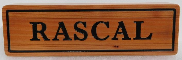 """P25420 - Engraved and Stained  Cedar Horse Stall Sign for """"Rascal"""""""