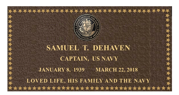 ZP-1110 - Carved Memorial  Plaque for Navy Captain,  Painted Brass and Bronze