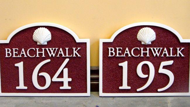 KA20861 - Carved HDU Beachwalk Address Signs with 3D Carved Seashells