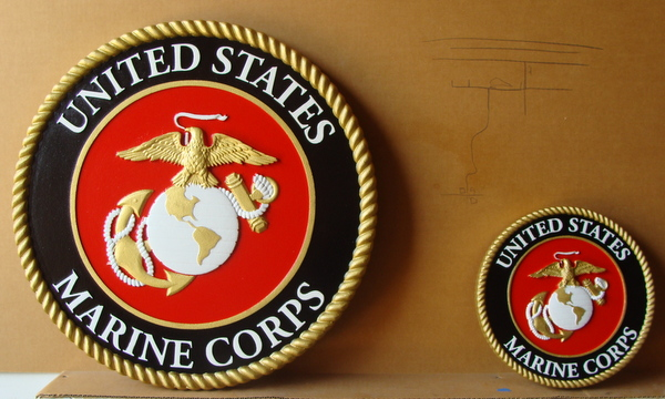 V31409  – Carved 3D Wall Plaques of the  Seal of the United States Marine Corp (unofficial colors)