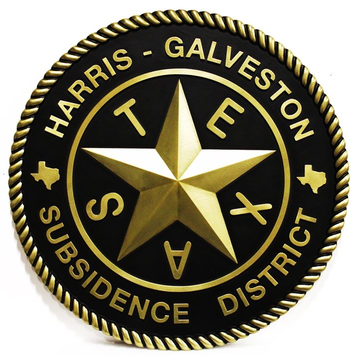 CP-1770 - Carved Plaque of the Seal ofSeal of Harris-Galveston District, Texas, 3-D Brass-Plated