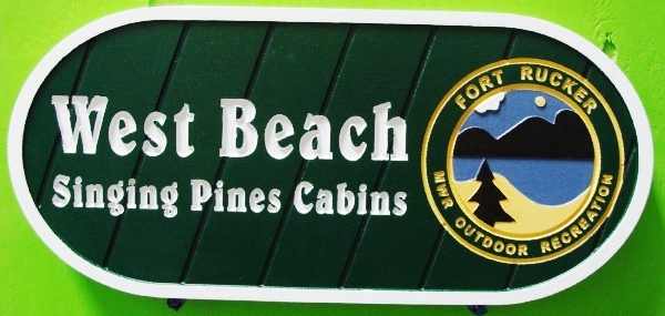 G16305 - Sign for Outdoor Recreation, Singing Pines Cabins