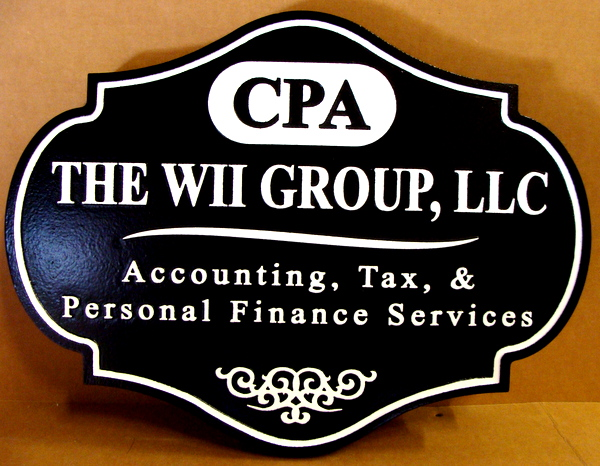 C12006  - Carved CPA  Group Sign, with raised Text and Border