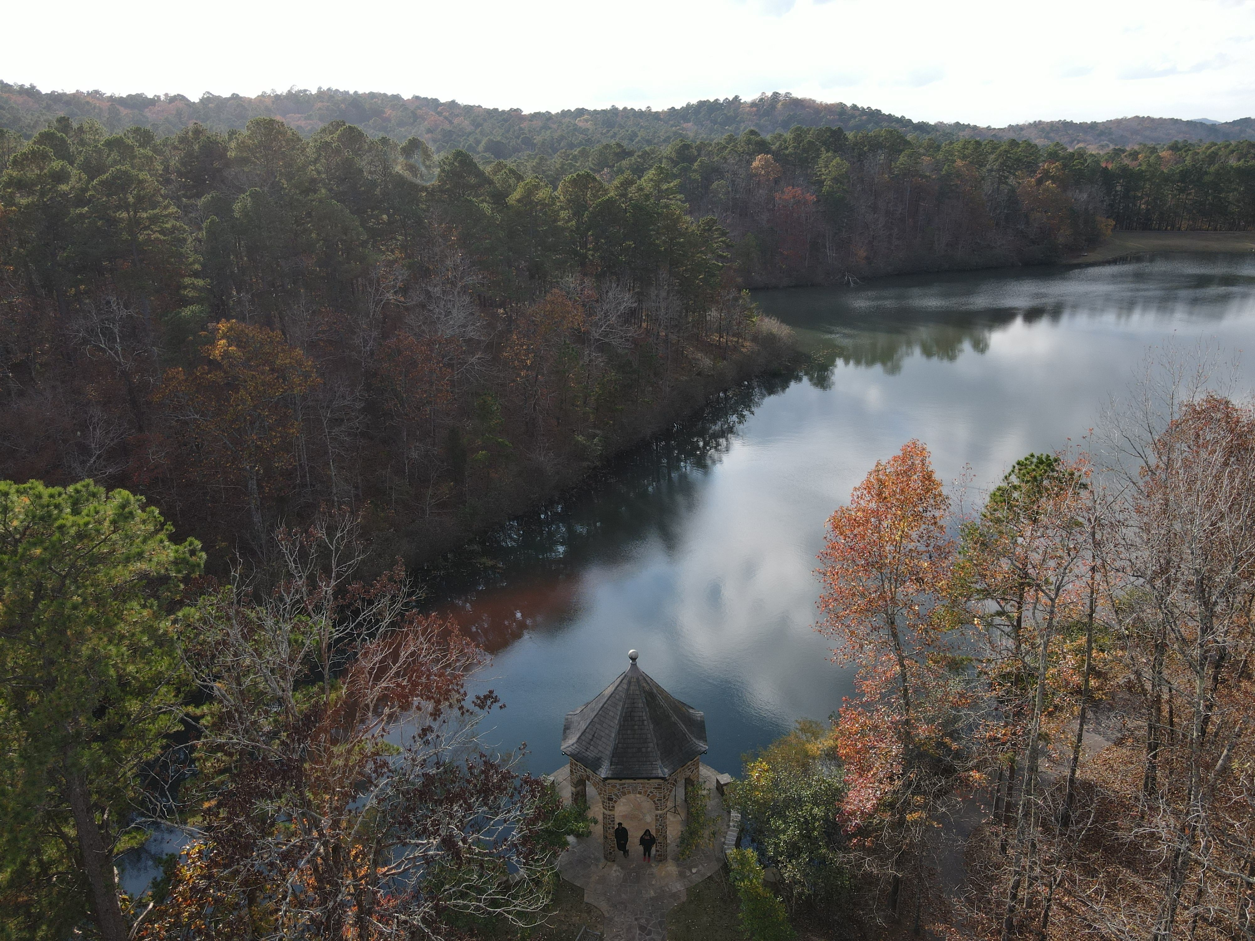 An aerial image of the Butler Gazebo and Swan Lake at Wildwood Park for the Arts during the Autumn