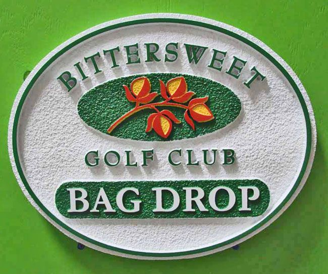 E14510- Sandblasted HDU Golf Course Bag Drop Sign